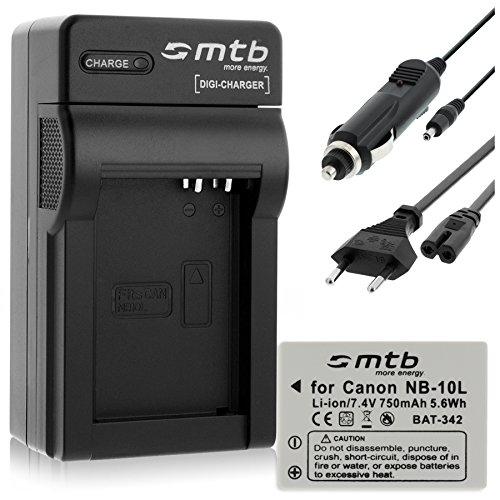 Batteria + Caricabatteria (Auto/Corrente) per Canon NB-10L / PowerShot G15, G16, G1X, SX40 HS, SX50 HS...