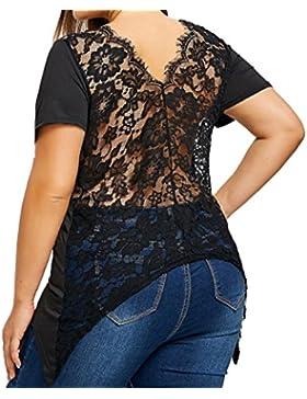 Lenfesh Mujer Sexy Blusa Encaje Negro Casual Camiseta Talla Grande(XL~5XL)