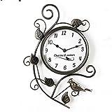 Orologio da parete - In metallo effetto antichizzato, stile vintage - Decorato con uccellino e foglie