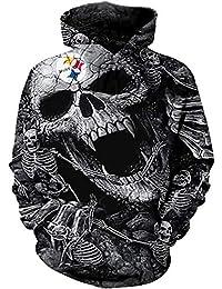 JFRRFJ Unisex Fashion 3D Sudaderas Estampadas Esqueleto Pittsburgh Steelers Sudadera con Capucha de Sudaderas gráficas con
