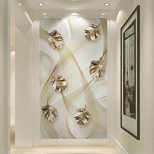 Gold Leaf Wallpaper (Lqwx Europäische Moderne 3D Art Wallpaper Foto Gold Leaf Linien Extrance Wallpaper Wandbilder Für Wände 3D Vliestapeten 300 Cmx 210 Cm.)