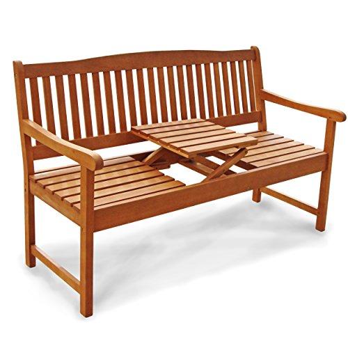Indoba Gartenbank, 3-Sitzer mit Klapptisch 'Sun Flair' - Serie, braun, 150 x 61 x 88 cm, IND-70032-GB3TI