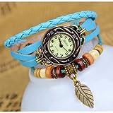 TOOGOO (R) Reloj de Pulsera Cuarzo Banda de Cuero Estilo Antiguo para Chica Mujer - Azul Claro