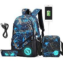 b80cf961f4faa Rucksack USB Ladeanschluss Schulrucksack Jugendlichen Jungs Casual Canvas  Jungen Schultasche mit Fluoreszenz 3 Teiliges Schultaschen-