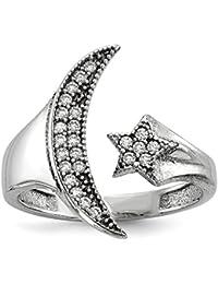 DIAMOND2DEAL INC Anillo de Plata de Ley 925 Chapado en rodio con circonita cúbica y Estrella