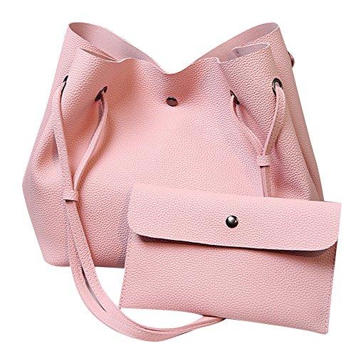 Donne Borsa a Tracolla Tote Bag Borse A Mano Borsa del Sacchetto Di Spalla Del Tote Hobo 2 Pezzi Set Pink