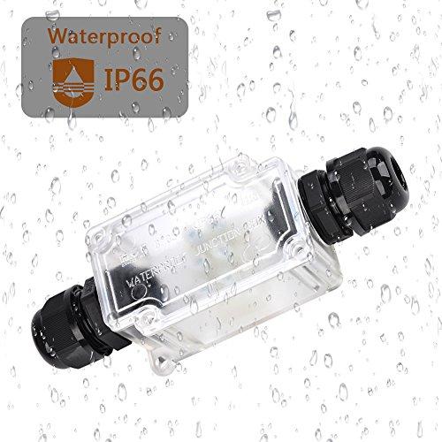 ATPWONZ Abzweigdose Wasserdichte IP68 Verteilerdose Anschlussdose Wasserdicht Transparent 2-Wege 3 Fach Kabelverbinder Klemmdose Verbindungsdose für Kabeldurchmesser 5 - 10 mm