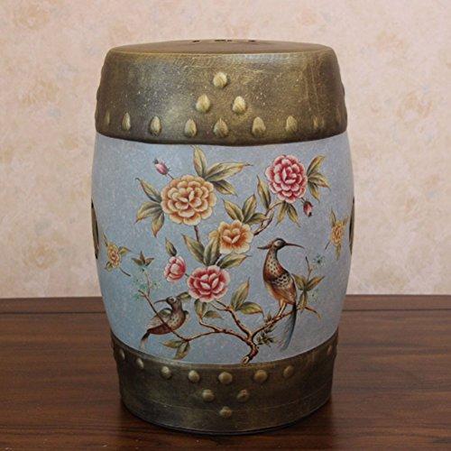 AJZXHE Amerikanischer klassischer Trommelstuhl bastelt dekorativen kleidenhocker-Weinlese-keramischen Schemel (Farbe : B)