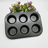Ruon Deals® 6 Slot Round shape Aluminum Muffin Cupcake Mould Case Bakeware Pan Tray Mould Maker Mold Tray Baking Cup Liner Baking Molds