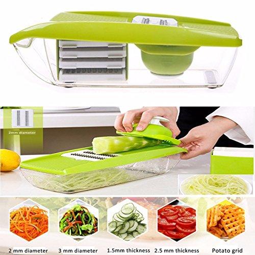 Gearmax Multifunktionales Gemüse Gericht Potato Drahtschneider Haushalt Küchenschleifer Hand geschnittene Schneiden oder Zerteilen Gemüse Obst 5 austauschbare Klingen