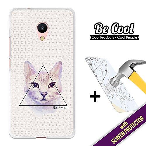 BeCool Custodia Cover [ Flessibile in Gel ] per Meizu M5s [ +1 Pellicola Protettiva Vetro ] Ultra Sottile Silicone,protegge e si adatta alla perfezione al tuo Smartphone. Disegno Gatto Be Sweet.