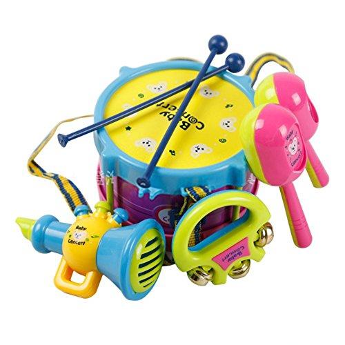 Tamburo bambino, MyCity 5pcs bambini bambino giocattolo Roll Drum strumenti musicali Band Kit bambini giocattolo Set regalo (consegna colore casuale)