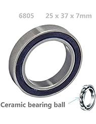 68052RS 25mm ID, 37mm OD, 7mm de ancho, Si3N4híbrido de cerámica rodamientos de bolas sellado de goma Abbott