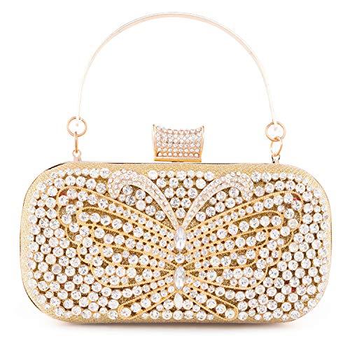 LONGBLE Glod Clutch,Damen Handtasche mit Schmetterling Kristall Strass Abendtasche Damen Tasche Geldbörse für Hochzeit Bankett Party - Perlen-geldbörse Handtasche Tasche