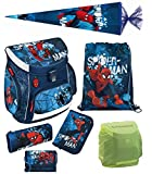 Familando Marvel Spiderman Schulranzen-Set 7tlg. Scooli Campus Up mit Federmappe gefüllt, regenschutz und Schultüte 85cm