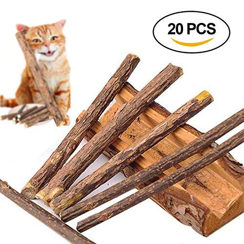 Beetest Katzenspielzeug Matatabi, 20 stücke Katze Katzenminze Reinigung Zähne Natürliche SilverVine Matatabi Zahn Kauen Stöcke Zähne Schleifen Snacks Lebensmittel Leckereien Spielzeug -