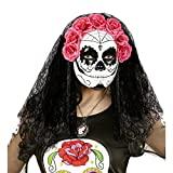 NET TOYS Dia de los Muertos Maske Halloween Gesichtsmaske mit Schleier und Rosen Tag der Toten Totenkopfmaske Mexikanische Totenmaske Sugar Skull Todesmaske La Catrina Kostüm Accessoire