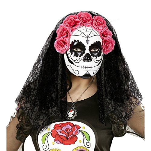 aske Halloween Gesichtsmaske mit Schleier und Rosen Tag der Toten Totenkopfmaske Mexikanische Totenmaske Sugar Skull Todesmaske La Catrina Kostüm Accessoire (Catrina Kostüme)