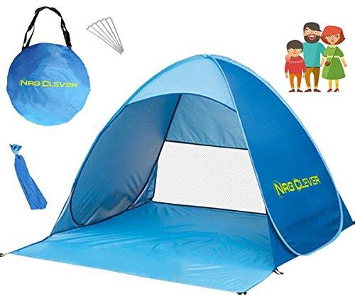 NRG CLEVER OT2PB Das Beste Strandzelt, Extra Leicht Automatik Strandmuschel mit Boden Sonnenschutz UV-Schutz, Familie Tragbares Strand-Zelt in Blau, Outdoor Beach Tent Tragbar