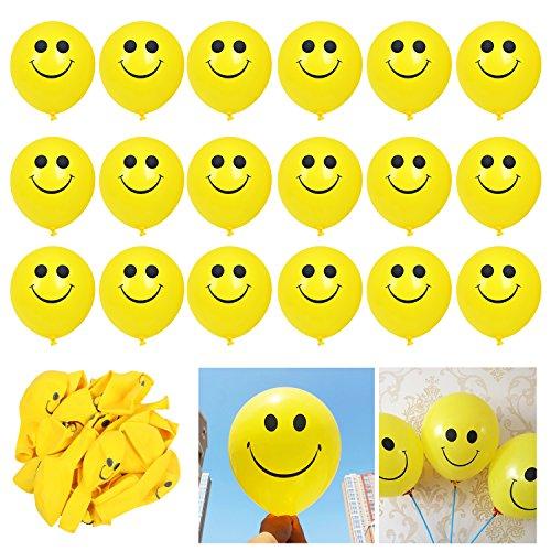 Trixes Karneval 18PC Packung mit gelben Smiley-Gesicht Luftballons Party Dekorationen Geburtstag Dekoration Zubehör