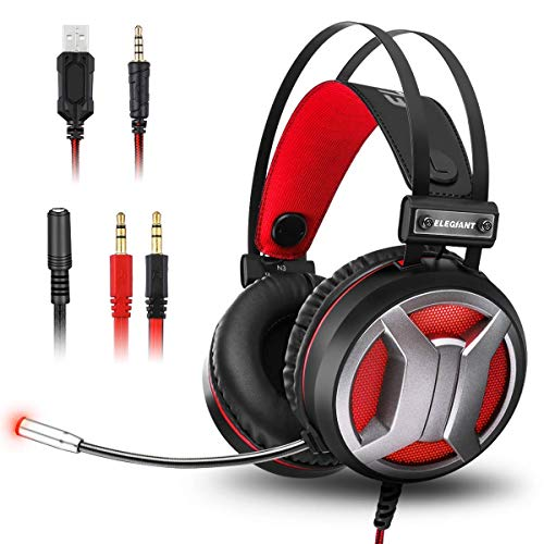ELEGIANT Gaming Headset für PS4 PC Xbox One Bass Sourround Gaming Kopfhörer mit Mikrofon LED Licht Professional Over-Ear Kopfhörer Rauschunterdrückung Lautstärkeregler für Computer Laptop Mac Tablet