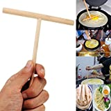OKASU 5 Pcs Wooden Rake Round Batter Pancake Crepe Spreader Kitchen DIY Tool Kit
