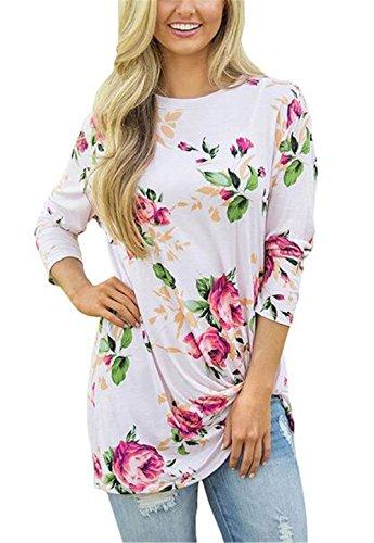 AILIENT Donna T-Shirt Manica Lunga Girocollo Tops Casual Allentato Maglietta Stampa Floreale Maglioni Blusa Comode Camicie Moda White