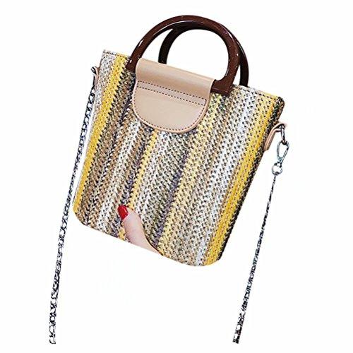 Frauen Stroh Eimer Taschen Weben Stroh Strand Handtaschen Sommer Vintage Rattan Tasche Handmade Kintted Reisetaschen bunte Khaki (Pom Top Stripe)