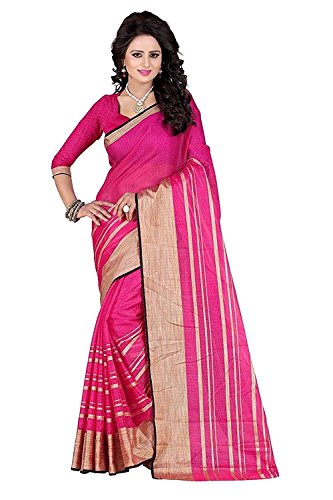 Kiranz Web Store Women's Pink color Cotton silk Saree (Pink(boarder) Kwsmpb_140)