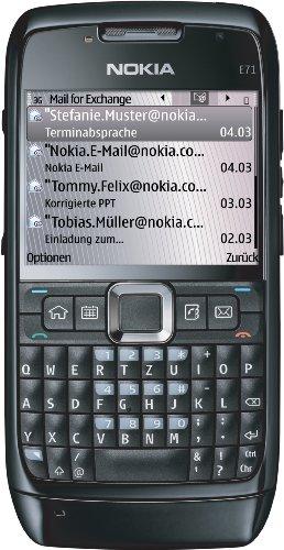 Nokia E71 Black Driver's Edition (UMTS, WLAN, A-GPS, 12 Monate Navigation, KFZ-Zubehör-Paket, Ovi Karten) Smartphone