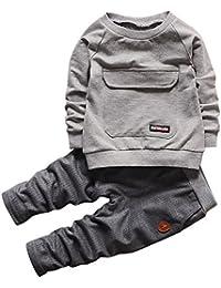 CHIC-CHIC Ensemble Sport Pull Bébé Garçon Fille Enfants Pull-over T-shirt à Manches Longues + Pantalons