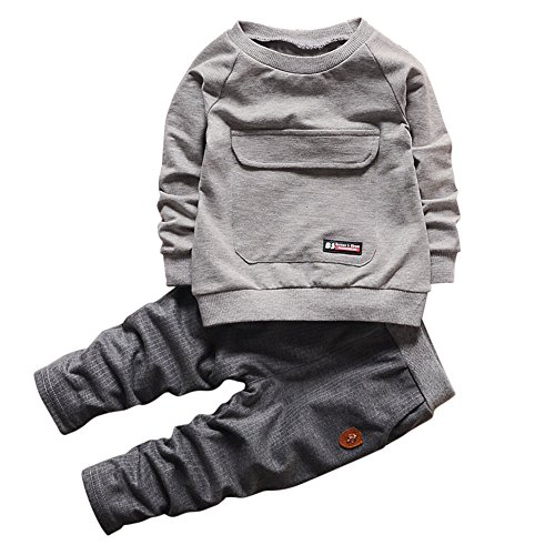 Chic-Chic Kids Baby Boys Girls Long Sleeve Sweatshirt Tops + Long Pants Tracksuits Outfits Clothes Clothing Set (18-24 Months, Grey)
