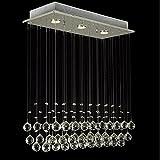 Louvra 40W Kristall Deckenleuchte Modern Pendelleuchte Luxury Decken Hängelampe Esstischlampe,geeignet für Restaurant,Hotel, Essizimmmer,Wohnzimmer, Villa, Bar, usw (3*GU10 Halogenlamp enthalten)