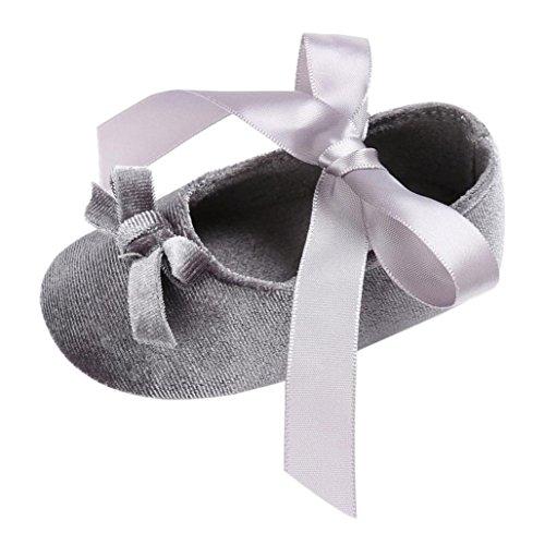 Pour 0-18 mois Bébé,Transer ® Joli bébé filles doucement semelle berceau chaussures anti-dérapant Princess Sneaker Gris