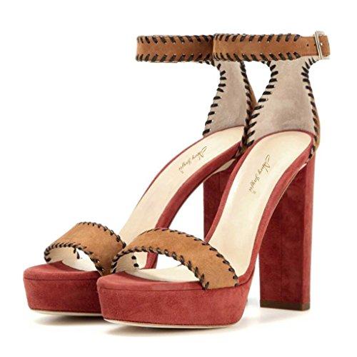 SHOFOO - Femmes - Stiletto - Cuir de daim synthétique - Semelle compensée 2 cm - Bride de cheville - Marron ou Rouge ou Rose - Talon bloc - Bout rond ouvert