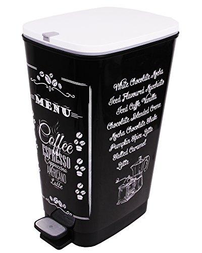 Ondis24 Treteimer Chic L Mülleimer Abfalleimer aus Kunststoff 45 Liter geruchsdicht (Coffee)