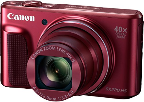 "Canon PowerShot SX720 HS - Cámara digital compacta de 20.3 MP (pantalla de 3"", zoom óptico 40x, estabilizador, video Full HD, WiFi), rojo"