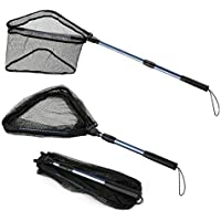 Magreel Fishing Net Telescope Foldable Collapsible Extensible Fishing Landing Net for Bird Fish Catch Release Lightweight Portable Aluminum Alloy Frame