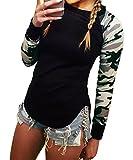 DEMO Damen T Shirts Langarm Druck Sweatshirt Frauen Rundhals T Shirt Lässige Tarnung Bluse Tops (Schwarz, L)