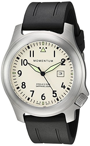 Momentum Men's Quartz Stainless Steel and Rubber Casual Watch, Color:Black (Model: 1M-SP74IS1B)