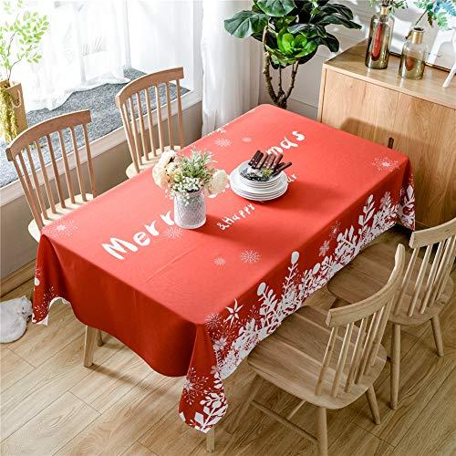 DOTBUY Rechteckige Tischdecke, Weihnachtskarikatur Rechteckig Abwaschbar Polyester Tischdecke Pflegeleicht Garten (140*210, Rotes Weihnachten)