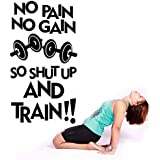 CVANU XXL No Pain No Gain So Shut Up.-Quote Decal Sport Gym Fitness Fit Workout Motivation Wall Decals, Wall Vinyl Decals Stickers