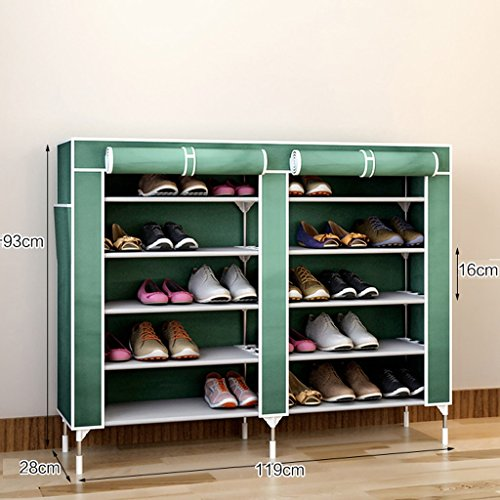 MMM& Accueil Acier inoxydable Simple Shoe Rack Multiple Layers Dormroom Creative Dust-proof Multifunction Storage Shoe Cabinet ( Couleur : Grass green , taille : 6 layers-93cm )