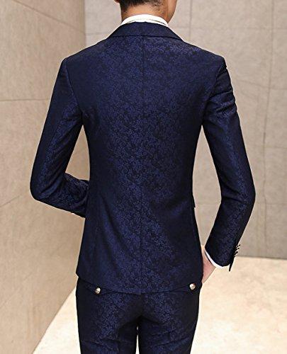 Ouye hommes de feuilles Motif Jacquard 1bouton 3pièces Gilet Pantalon de Bleu Marine