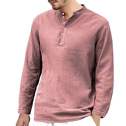 DNOQN Sport T Shirt Sweater Herren Gestreiftes Shirt Herren Baggy Baumwolle Leinen Langarm Knopf Retro V-Ausschnitt T Shirts Tops Bluse M