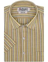 Arihant Men's Striped Half Sleeves Reguler Fit Cotton Linen Formal Shirts