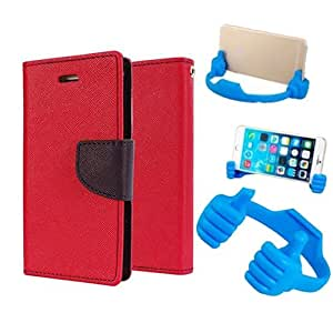 Aart Fancy Diary Card Wallet Flip Case Back Cover For Mircomax A116 - (Red) + Flexible Portable Mount Cradle Thumb Ok Stand Holder By Aart store