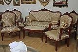 LouisXV Barock Salon Antik Stil 4 Sessel 1 Sofa 1 Couchtisch mit Marmor-Platte AlSa0339 Antik Stil Massivholz. Replizierte Antiquitäten Buche Antikmessing.