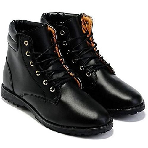 jeansian Moda Casuale Pelle Scarpe Inverno Stivali Scarpe da Uomo Boots Black 8 US SHB029
