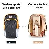 chinatmax brazalete deportivo bolsa + estuches de táctica cintura Pack, resistencia al agua utilidad Gadget bolsillos teléfono celular titular bolsa para hacer senderismo, Camping, Running para hombres, mujeres, Black+ Three Color